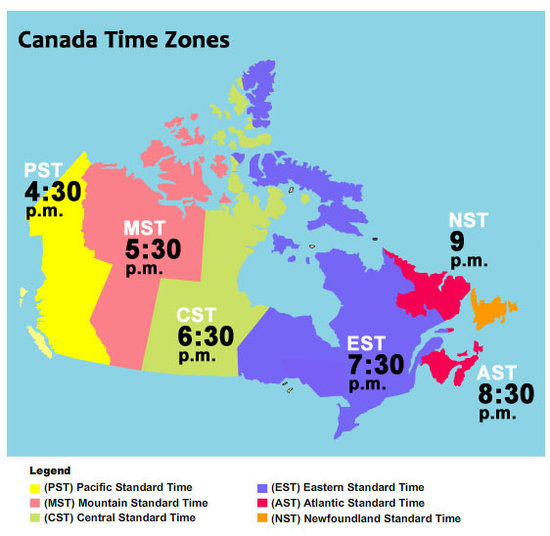 Bc Time zone boundary map